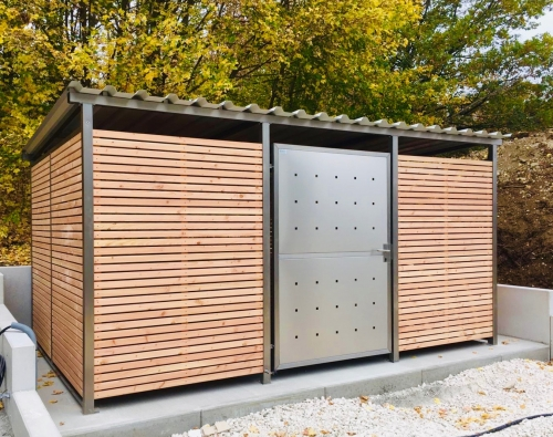 Fahrradgarage Mülltonnenhaus Müllcontainer Überdachung Gartenhaus Gerätehaus 400 x 354 cm mit Holzverkleidung