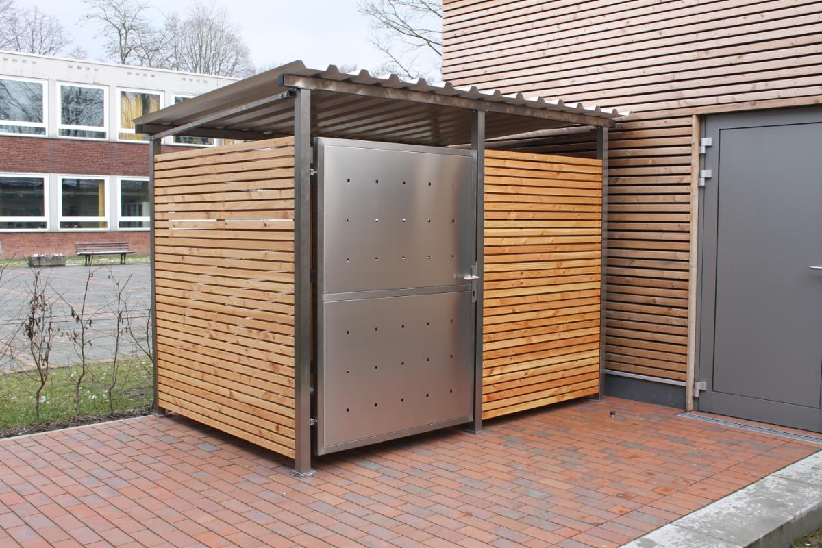 Fahrradgarage Mülltonnenhaus Müllcontainer Überdachung Gartenhaus Gerätehaus 269 x 180 cm mit Holzverkleidung