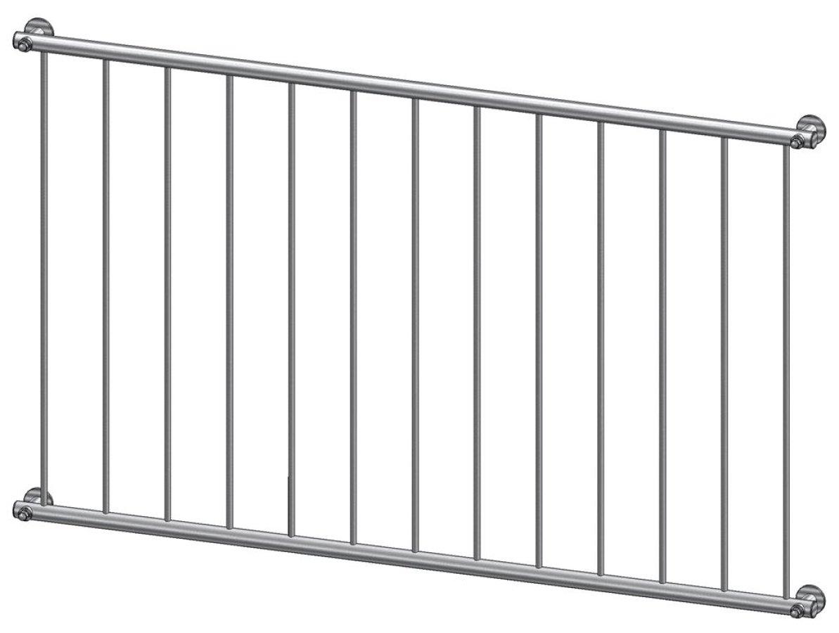 Französischer Balkon Modell Basic Edelstahl - vorgesetzt