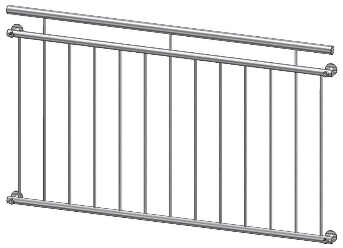 Französischer Balkon Modell Lyon Edelstahl - vorgesetzt