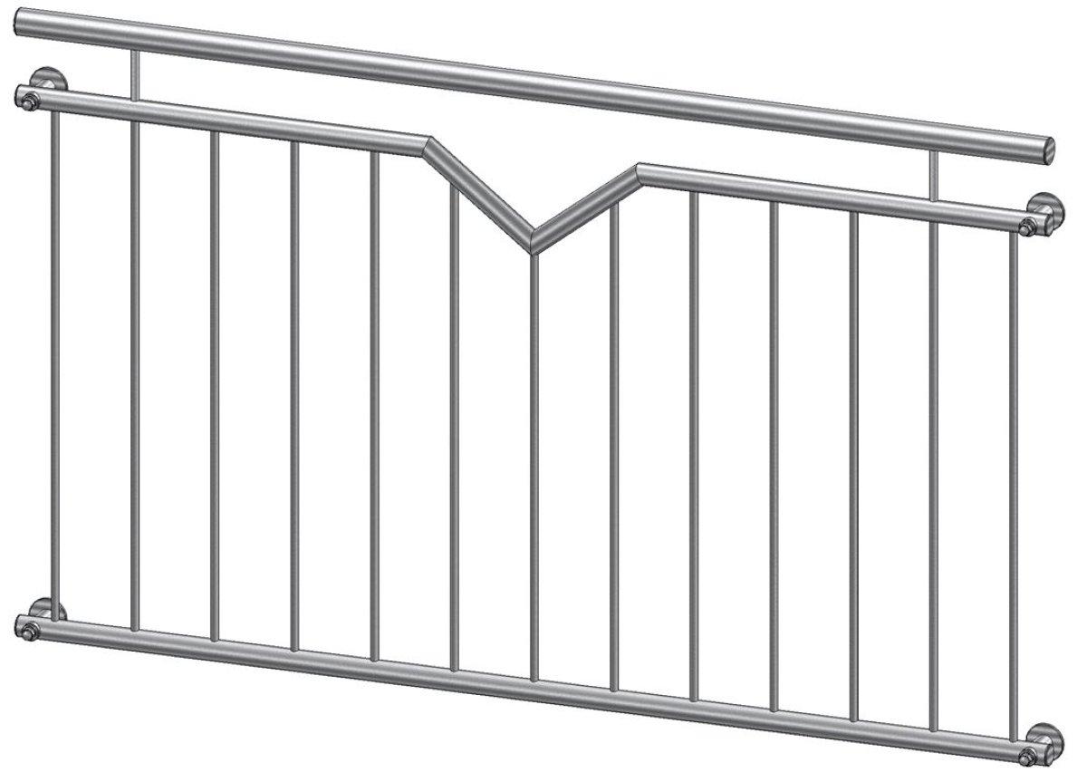 Französischer Balkon Modell Nizza Edelstahl - vorgesetzt