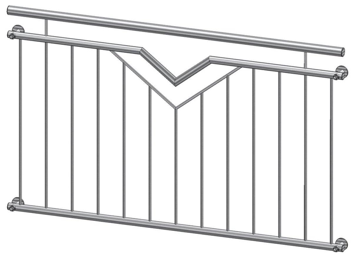 Französischer Balkon Modell Paris Edelstahl - vorgesetzt