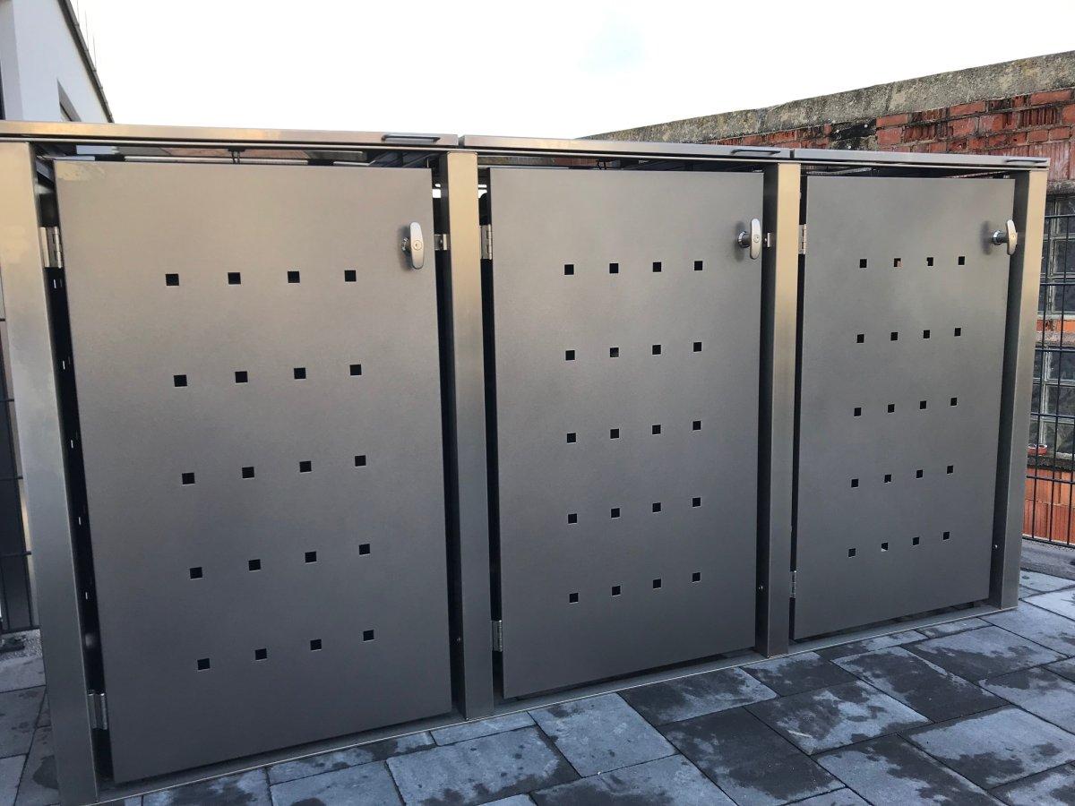 Mülltonnenbox Universal 240 Liter und 120 Liter Edelstahl grau anthrazit 3er Box