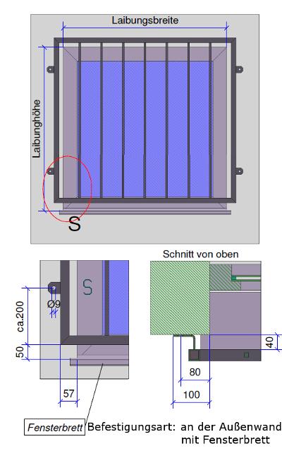 Fenstergitter Befestigung Fensterbrett