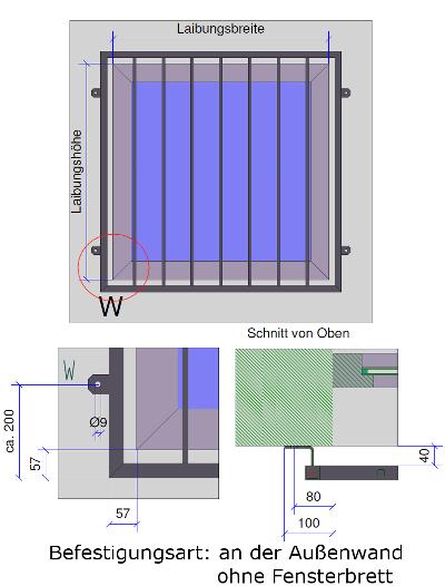 Fenstergitter Befestigung an der Wand