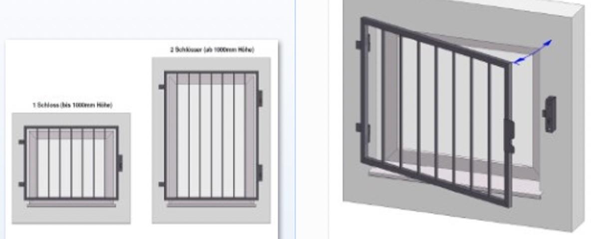 Fenstergitter mit der Funktion zum Öffnen