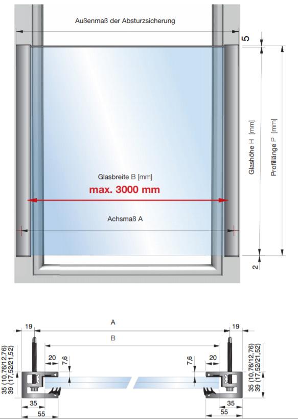 franz sischer balkon glas modere ausf hrung h1000mm. Black Bedroom Furniture Sets. Home Design Ideas