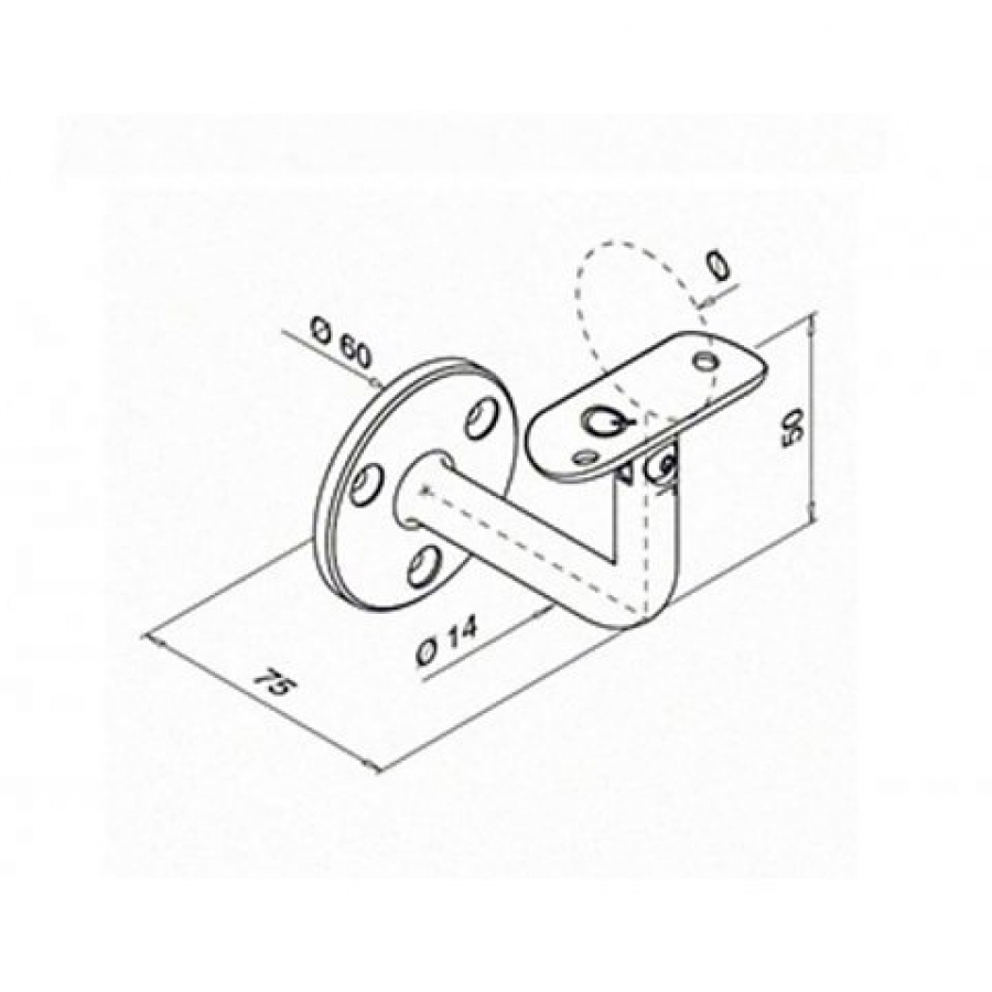 rechteckig Handlauf aus Edelstahl grau 40/x 20/mm